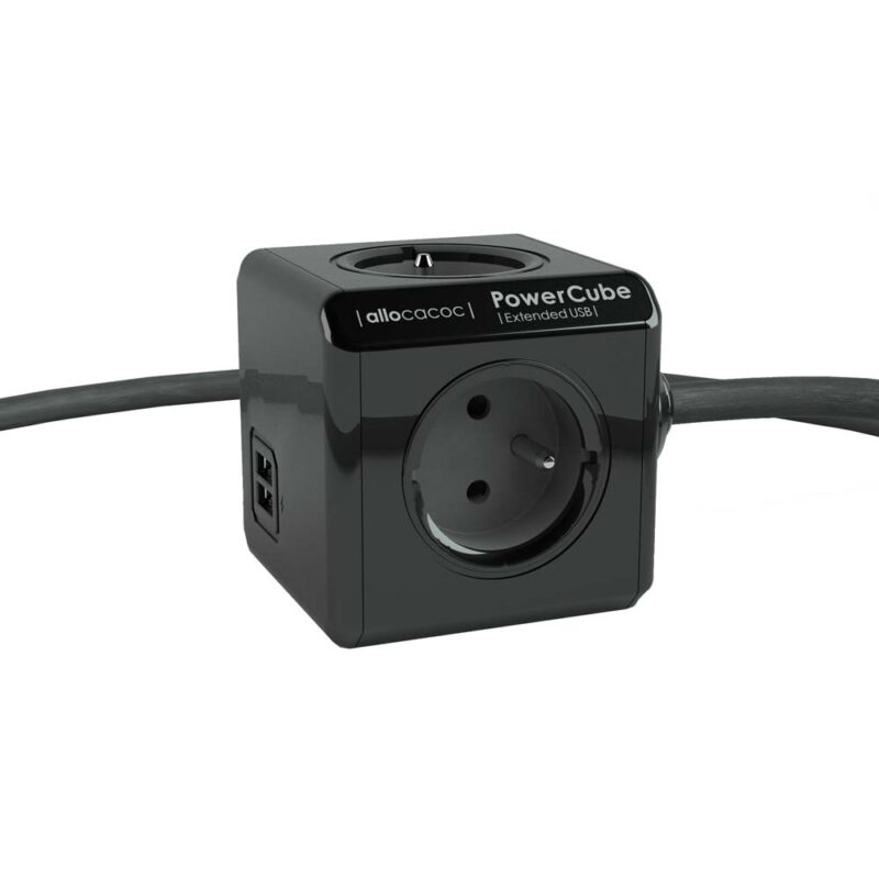 PowerCube Extended Duo USB Black Type E